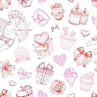 Valentine love sketch pattern.