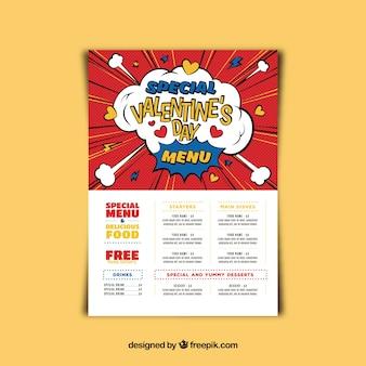 Valentine menu template in comic style