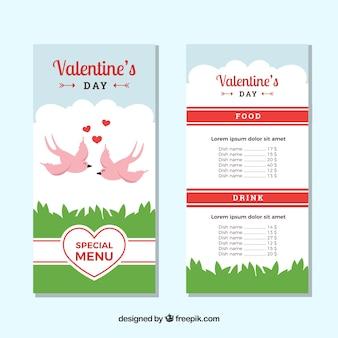 Valentine menu template with birds