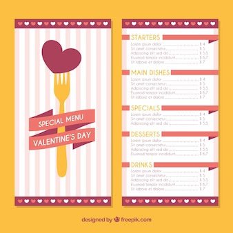 Valentine menu template with heart on fork