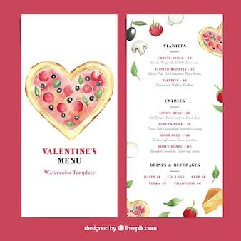 Valentine menu template with pizza