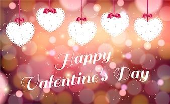 明るい赤の背景にバレンタイン