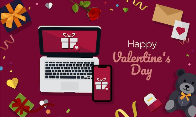 Valentine online shopping on laptop computer and mobile