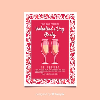 Valentine party champagne poster template