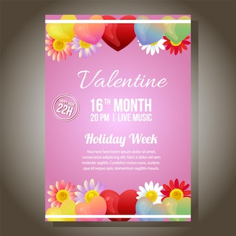 Valentine party ornate brochure template with floral ornate