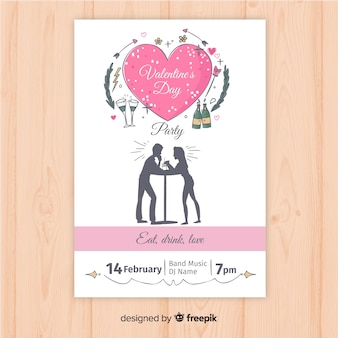 Valentine party poster template