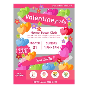 Valentine party poster with cute heart shape