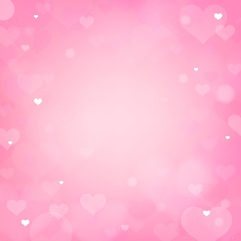 Valentine pink heart bokeh background