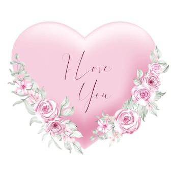 Valentine pink heart shape i love you words with watercolor flower and leaves