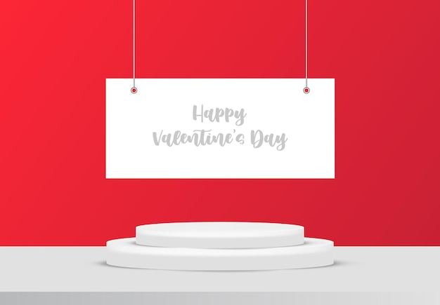 제품 디스플레이 또는 배치를위한 발렌타인 연단 장면