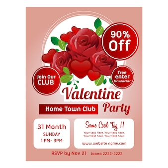Valentine poster template red rose decoration