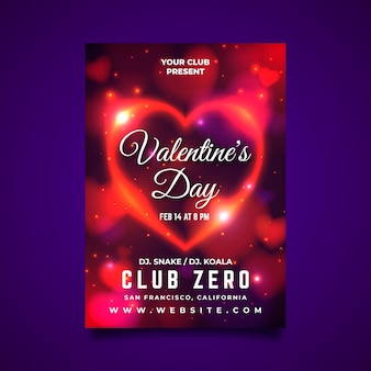 Valentine poster template with blurred hearts