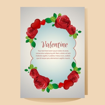Valentine poster template with red rose ornate