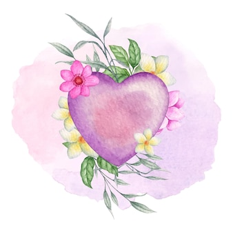 Valentine purple heart shape with flowers and leaves