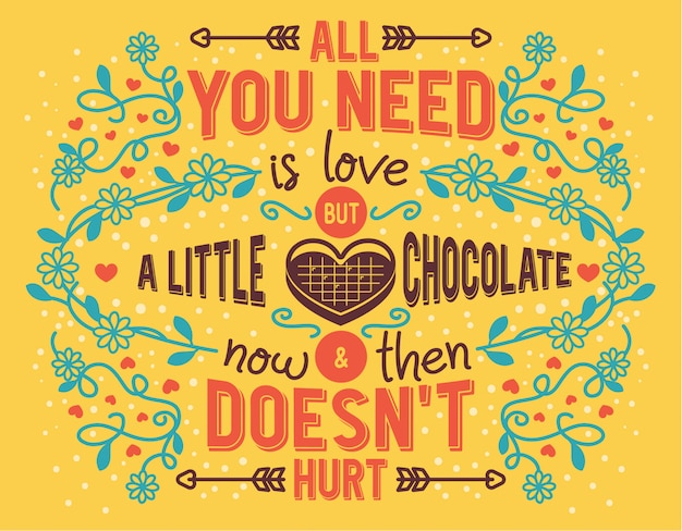 Valentine quote all you need is love but a little chocolate now and then doesn't hurt