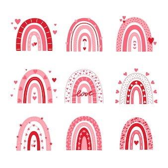 Valentine rainbows vector set isolated on a white background.