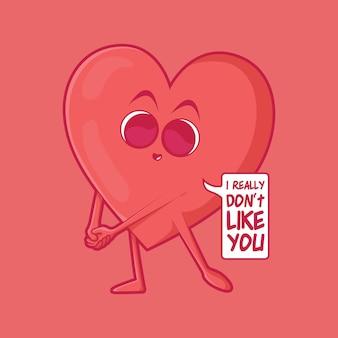 バレンタイン赤いハート文字ベクトルイラスト愛の気持ち面白いデザインコンセプト