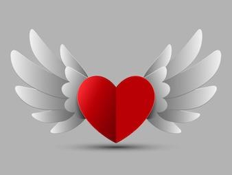 翼を持つバレンタインの赤いハート