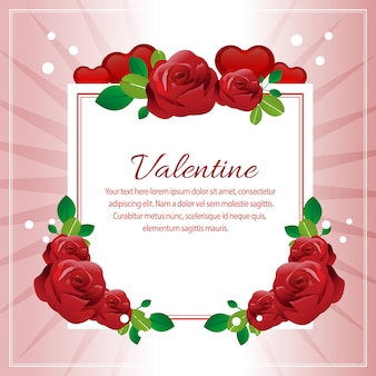 Valentine red rose decoration square text