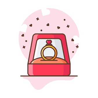 Valentine ring love  icon illustrations.
