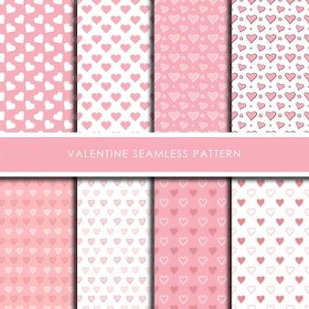 Valentine romantic seamless pattern vector set.