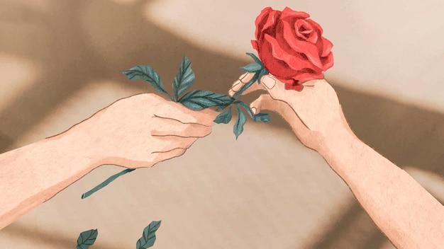 バラのベクトル手描きイラストを交換するバレンタインのカップル