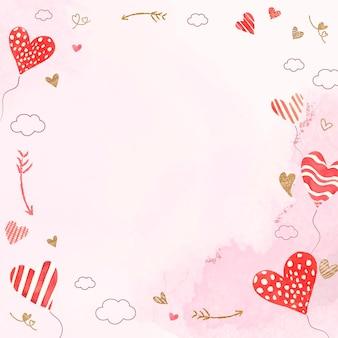 バレンタインのハートバルーンフレームベクトルピンクの水彩画の背景