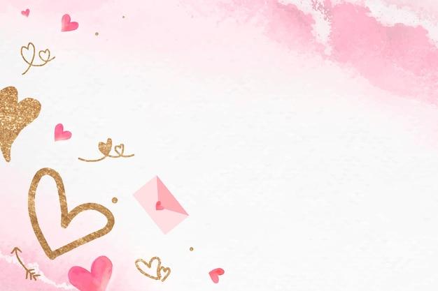キラキラハートとバレンタインのラブレターフレームベクトルの背景