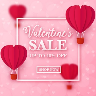 Valentine's ad with heart shaped paper balloons