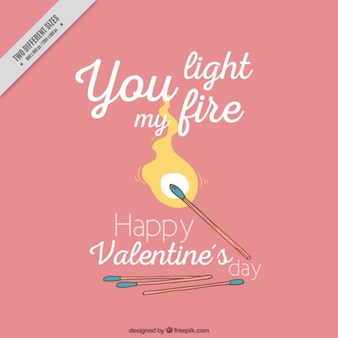 Valentine's background with matches and fire