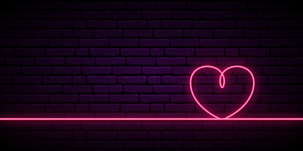 Valentine's background with neon pink heart one line.
