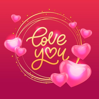 Valentine's card love you with calligraphic lettering