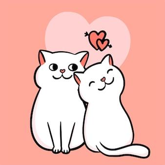 발렌타인 카드. 사랑에 두 고양이 커플