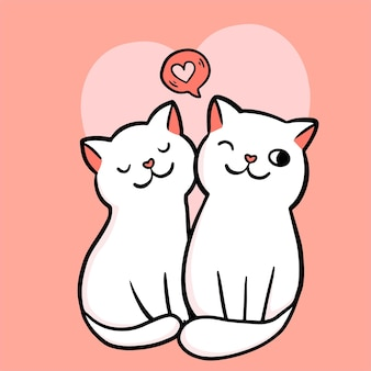 Valentine's card. two cats couple in love
