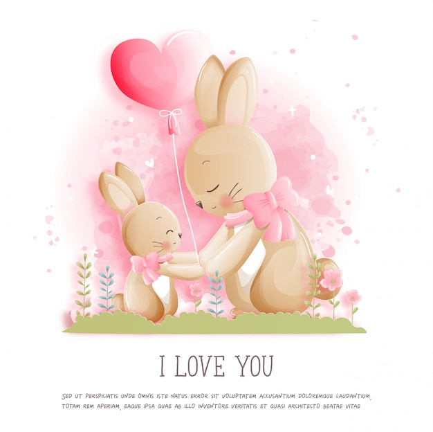 Valentine's card with cute bunny and heart balloon