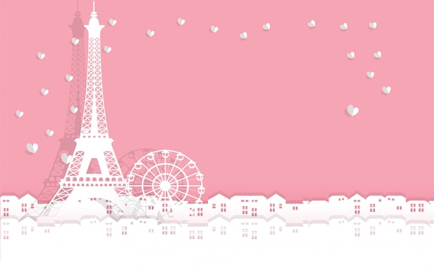 Valentine's card with eiffel tower with heart paper cut. all in paper cut style vector ill