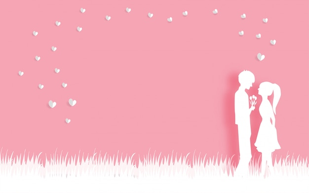 Valentine's card with in love couple in paper cut style vector illustration.