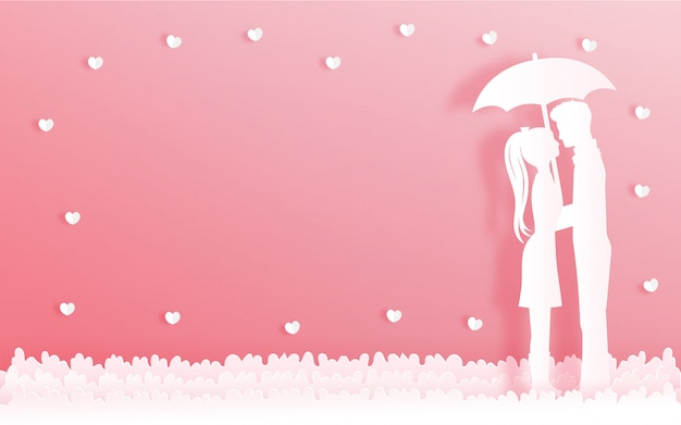 Valentine's card with man and woman holding each other under the umbrella