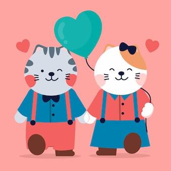 バレンタインのお祝い。ハート型の風船を持って歩く2匹の猫のカップル