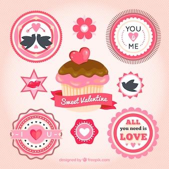 Кекс и этикетки святого валентина