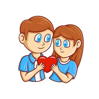 발렌타인 데이 귀여운 만화 그림 handdrawn