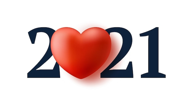 Valentine's day 2021 with red heart