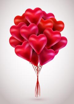 バレンタインデーの3dハートの赤い風船。