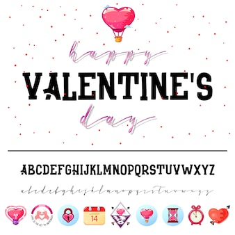 Valentine's day alphabet and icons