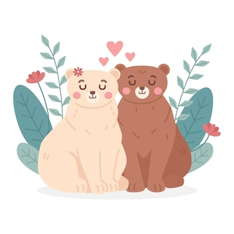 День святого валентина пара животных в плоском дизайне