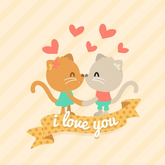 Valentine's day animal couple with cats