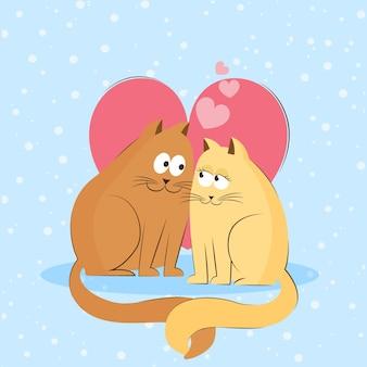 猫とバレンタインデーの動物のカップル