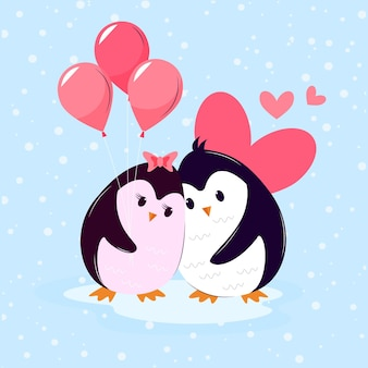 Valentine's day animal couple with penguins