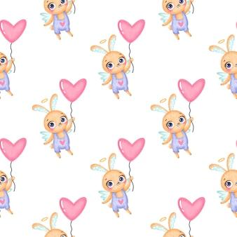 バレンタインデーの動物のシームレスなパターン。かわいい漫画のバニーキューピッドのシームレスなパターン。