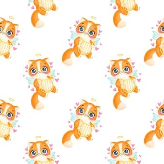 День святого валентина животные бесшовные модели. симпатичный мультяшный кот амур бесшовные модели.